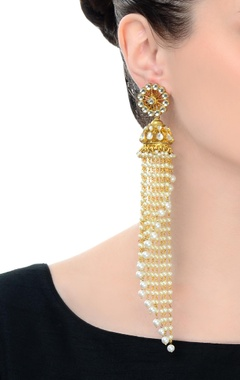 Gold finish jhumkas with long chains