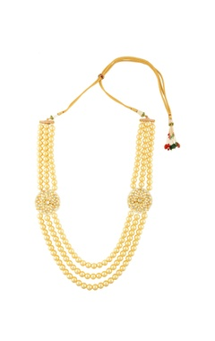 Gold finish necklace with strands of pearls