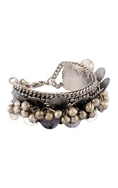 Silver coin beaded bracelet