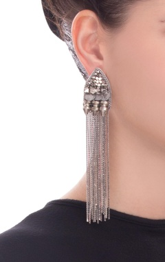 silver chained earrings