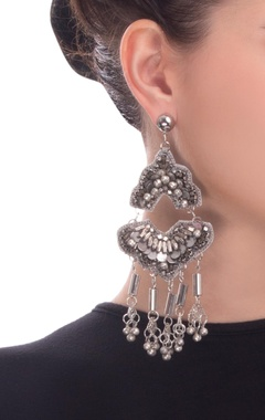 silver two piece earrings