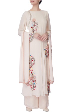 powder pink thread embroidered kurta set