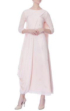 Light pink chiffon draped kurta