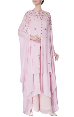 pink floral print kurta & palazzo set