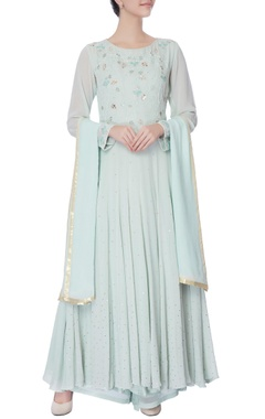 powder blue thread work anarkali set