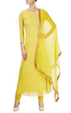 Lemon yellow embellished kurta set