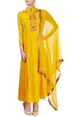 Mustard yellow embroidered kurta set