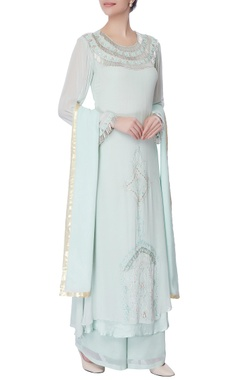 powder blue mukaish work kurta set