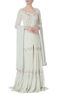 light blue mukaish long kurti & palazzo set