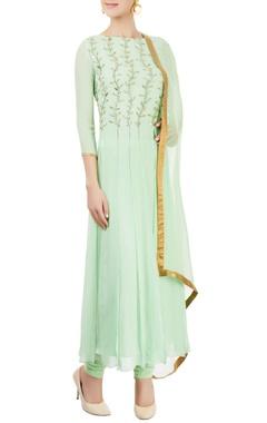 Green embellished kurta set