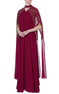 Burgundy brown gown with cape