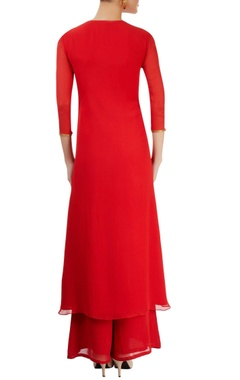 Carrot red embellished palazzo set