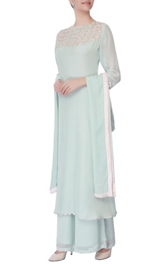 powder blue embroidered kurta and palazzo set