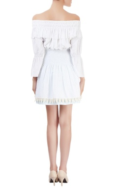 White off-shoulder dress with smocking