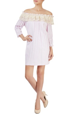 Pink & white striped off-shoulder dress