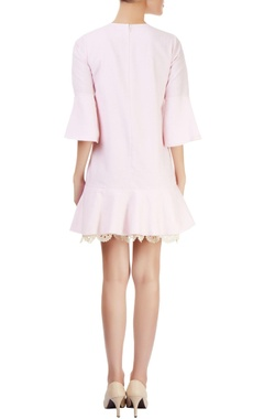 Pink shift dress with lace trims