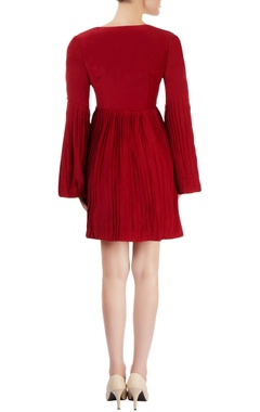 Burgundy dress with pleats