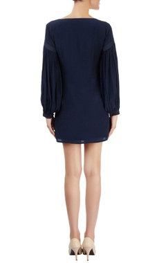 Navy blue shift dress with gathered sleeves