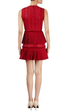 burgundy dress with lace & pleats