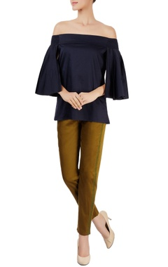 Navy blue off shoulder top with pleated sleeves