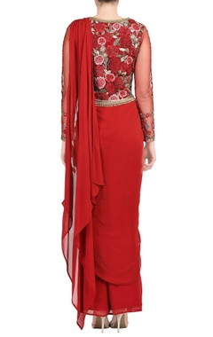 maroon sari gown