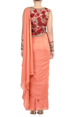 Peach embroidered sari gown