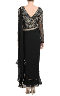 black embroidered sari gown