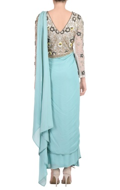 sky blue embroidered sari gown