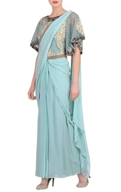 Powder blue sari gown