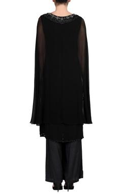 Black kurta set with attached cape