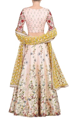 pink floral embroidered lehenga set
