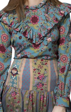 blue chintz frilled top
