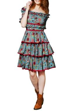 Blue chintz frilled dress