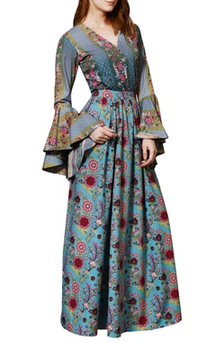 Siddhartha Bansal Blue chintz skirt