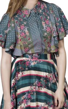 Green striped circular skirt