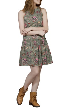 Green chintz short dress