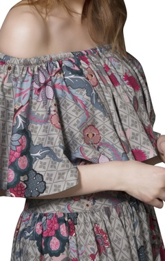 Grey chintz gathered skirt