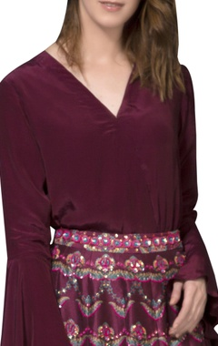 Wine red wrap top