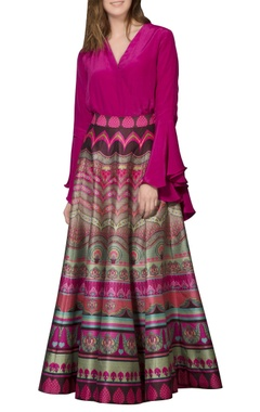 Siddhartha Bansal Multi-colored printed maxi skirt