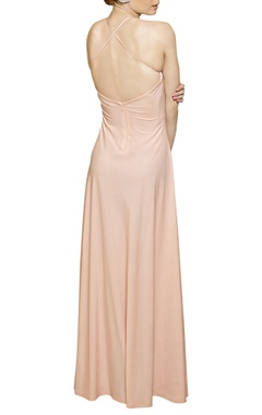 blush pink halter neck gown
