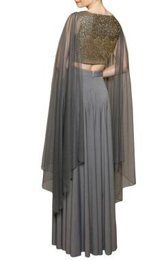 Grey embellished crop top & skirt