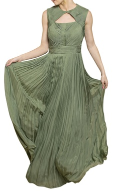 sage green pleated gown