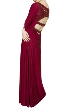 wine gown with cutout back