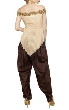 off-white top with dark brown dhoti pants