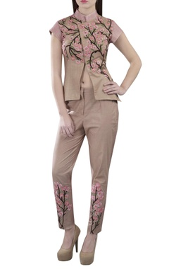 beige embroidered jacket & trousers
