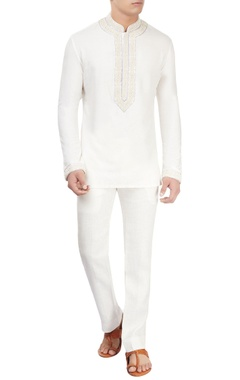 off-white embroidered kurta