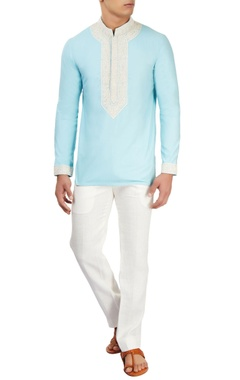 Powder blue embroidered kurta