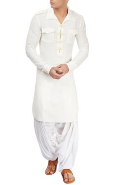 White linen long kurta