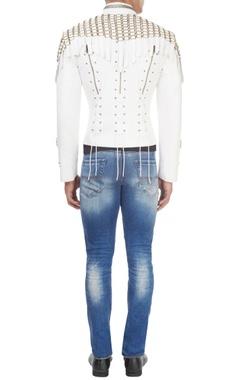 White studded biker jacket