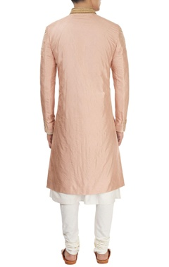 Dusty rose sherwani with kurta & churidar